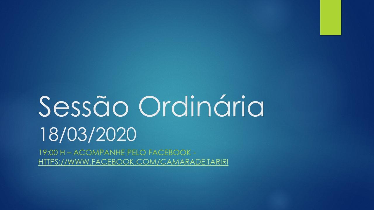 ASSISTA AO VIVO A SESSÃO DA CÂMARA PELO FACEBOOK