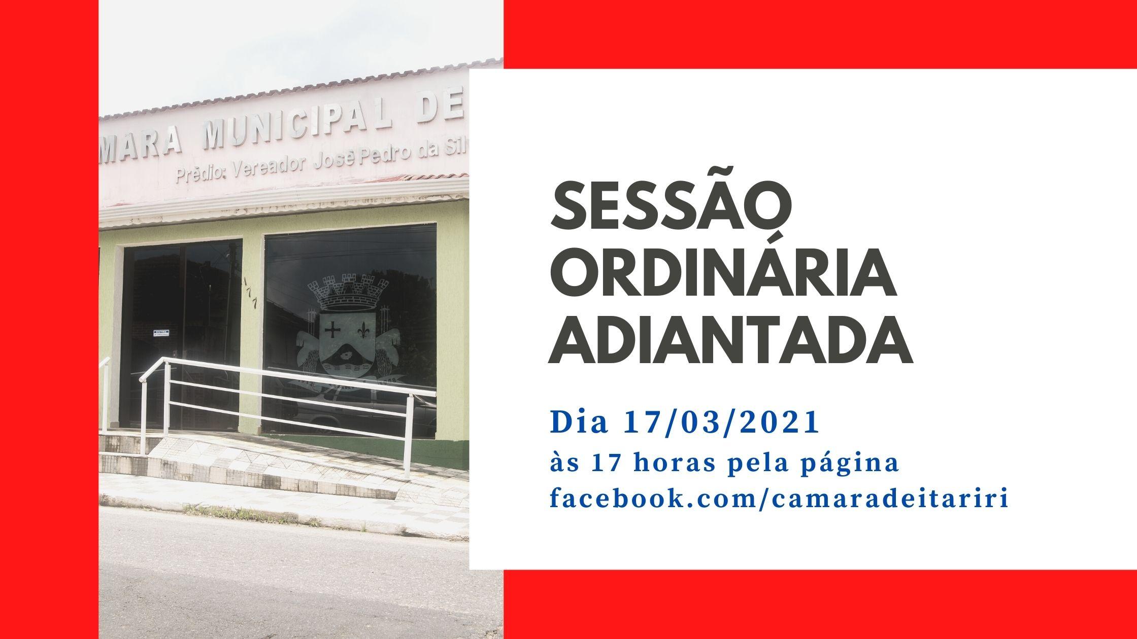 COM MUDANÇA NO HORÁRIO, CÂMARA REALIZA SESSÃO ORDINÁRIA NESTA QUARTA-FEIRA (17)