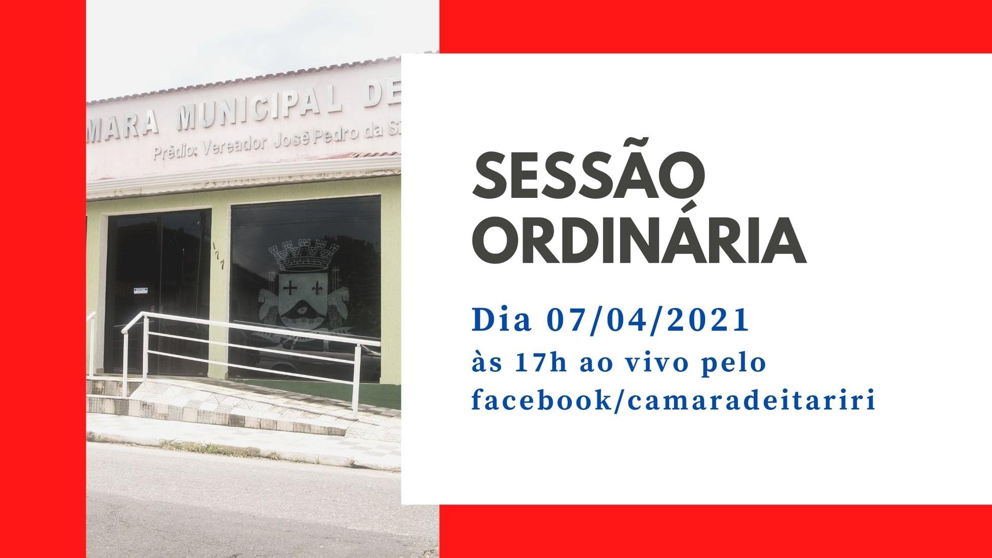 ASSISTA AO VIVO SESSÃO ORDINÁRIA NESTA QUARTA-FEIRA (7/4), ÀS 17H